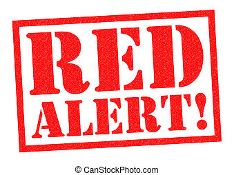 RED ALERT red Rubber Stamp over a white background