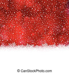 Red white winter, Christmas background with snow flake border