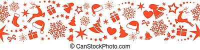 Seamless Christmas border with ornaments, snowflakes and...