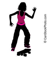 Female Skateboarder Silhouette