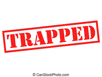 TRAPPED red Rubber Stamp over a white background