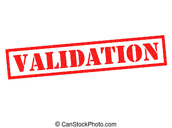 VALIDATION red Rubber Stamp over a white background