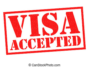 VISA ACCEPTED red Rubber Stamp over a white background