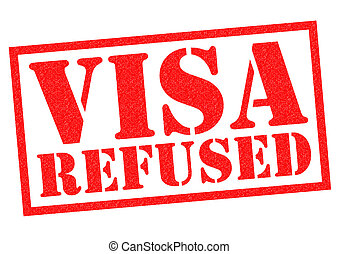 VISA REFUSED red rubber Stamp over a white background