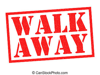 WALK AWAY red Rubber Stamp over a white background