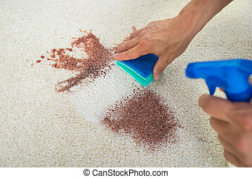 Man Cleaning Stain On Carpet With Sponge - Cropped image of...
