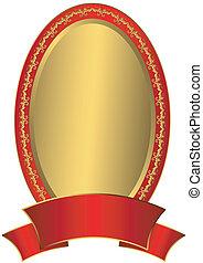 Gold Easter frame (vector) - Gold Easter frame with red...