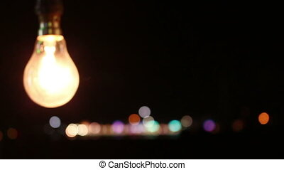 lamp on festival river side at night background