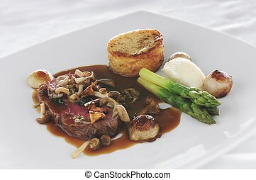cooked steak meal - plated steak meal dinner