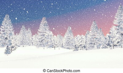 Winter spruce forest at snowfall