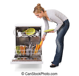 Woman Arranging Utensils In Dishwasher Over White Background...
