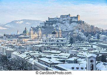 Salzburg skyline with Fortress Hohensalzburg in winter,...