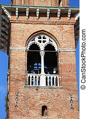 Detail of the ancient tower of Basilica Palladian in Vicenza