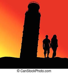 leaning tower in piza color vector silhouette