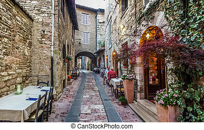 Ancient town of Assisi, Umbria, Italy - Romantic dinner...