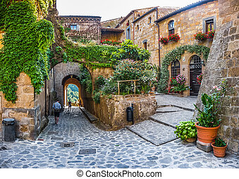 Idyllic alley way in civita di Bagnoregio, Lazio, Italy -...