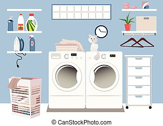 Laundry room - Interior of a laundry room in a family home,...