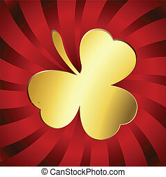 Golden lucky clover over red stripes background