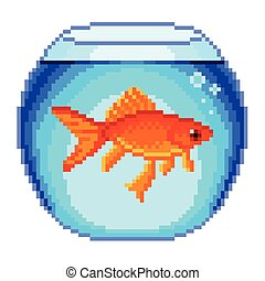 Pixel goldfish in fishbowl isolated vector - Pixel goldfish...
