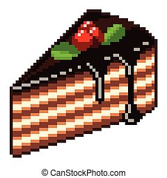 Pixel piece of cake isolated vector - Pixel piece of cake...