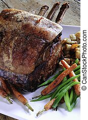 roast rib of beef with vegetables