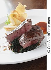 venison steak meal - plated venison steak meal