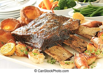 sunday roast dinner - large beef rib sunday roast dinner