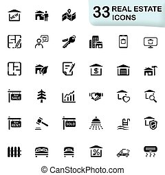 Real estate icons - Set of 33 icons for web and mobile...