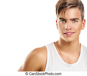 Handsome young man. Fashion young model man portrait