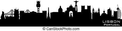 Lisbon Portugal city skyline vector silhouette - Lisbon...