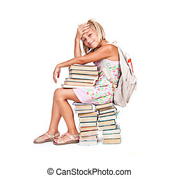 Back to school. Happy smiling schoolgirl with stack of...