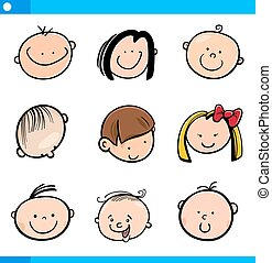 cartoon kids faces set