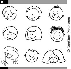 cartoon boys and girls faces set - Black and White Cartoon...
