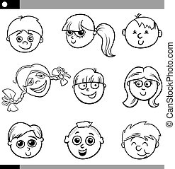 cartoon kids characters set - Black and White Cartoon...