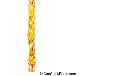 Gold chain necklace isolated on white