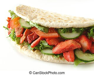 Chicken Donner naan bread sandwich
