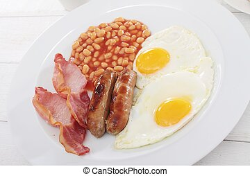 English breakfast - traditional full English breakfast