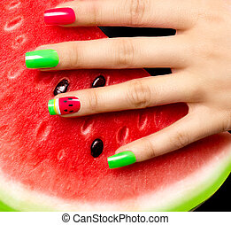 Nail art Watermelon style bright summer art manicure