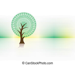 green eco tree - hand darw vector green tree on eco...
