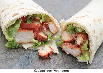 chicken tikka wrap - Indian chicken tikka wrap