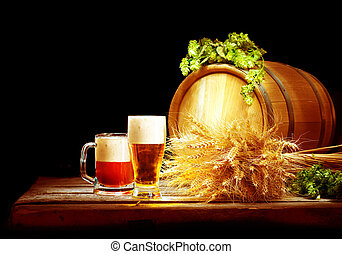Brewery concept. Wooden barrel and two mugs with beer