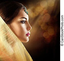 Beautiful fashion Indian woman profile portrait with...