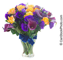 Calla lilly and eustoma flowers - Bouquet of calla lilly,...