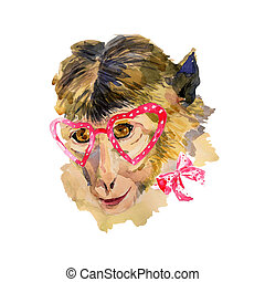 Watercolor monkey in red heart shaped glasses Fashionable...