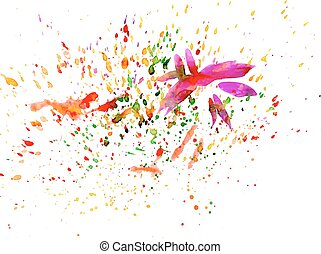 Brush strokes and paint splashes - Multicolored abstract...