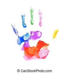 Handprint in vibrant colors of the rainbow - Hand painted in...