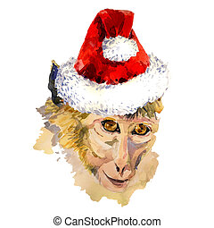 Monkey king portrait in a cool Christmas hat - Merry Xmas...