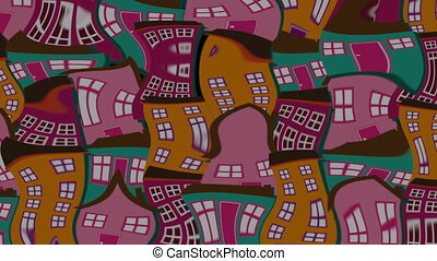 Cityscape with house design, video animation HD1080