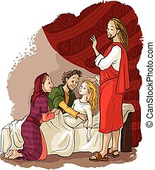Miracles of Jesus. Raising of Jairus daughter - Vector...