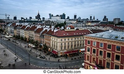 time lapse view of Warsaw center with the town hall - time...